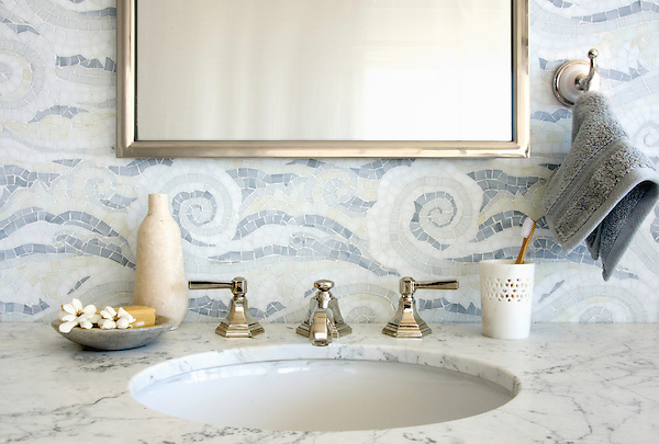 Tempest, a hand cut Sea Glass™ mosaic, shown in Opal, Quartz, Pearl, Absolute White, and Moonstone.
