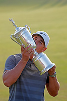 Brooks Koepka (USA) kisses the trophy after winning the 118th U.S. Open Championship at Shinnecock Hills Golf Club in Southampton, NY, USA. 17th June 2018.<br /> Picture: Golffile | Brian Spurlock<br /> <br /> <br /> All photo usage must carry mandatory copyright credit (&copy; Golffile | Brian Spurlock)