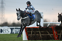 Race winner Ile de Re ridden by Harry Skelton jumps during the Connolly's Red Mills Grocare Balancer Novices' Hurdle