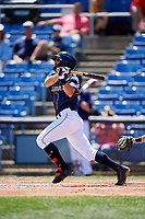 Binghamton Rumble Ponies shortstop Levi Michael (3) follows through on a swing during a game against the Altoona Curve on June 14, 2018 at NYSEG Stadium in Binghamton, New York.  Altoona defeated Binghamton 9-2.  (Mike Janes/Four Seam Images)