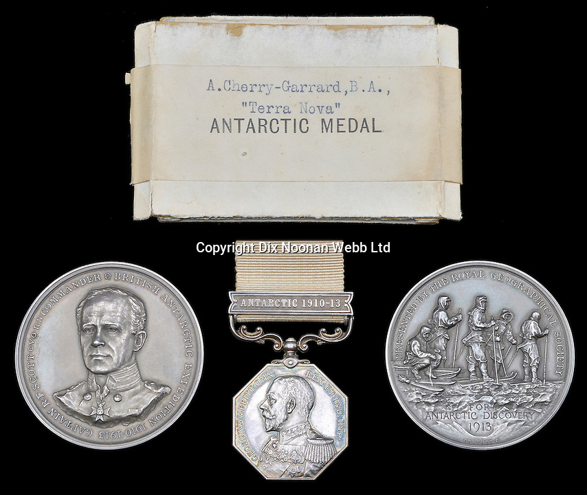 BNPS.co.uk (01202 558833)<br /> Pic: DNW/BNPS<br /> <br /> The Polar Medal awarded to an explorer who came within a few miles of rescuing Scott of the Antartic and his team has emerged for sale for 30,000 pounds.<br /> <br /> Apsley Cherry-Garrard was haunted for the rest of his life at not being able to reach the four men who were stranded in horrendous conditions on their return journey.<br /> <br /> Cherry-Garrard had gone to the supply depot to re-stock it with food and meet the group after what was meant to have been their historic trip to become the first people to reach the South Pole.<br /> <br /> After days of waiting he followed orders given to him and returned north to the expedition's headquarters in order to spare the sledge-dogs.<br /> <br /> Had he carried on south, and killing one dog at a time to feed to the rest after running out of food, he would have found the remaining men stranded in their tent after 12 miles.<br /> <br /> Cherry-Garrard left the One Ton Depot on March 10, 1912. Lawrence Oates died on March 16 after walking out if the tent.<br /> <br /> Scott, Edward Wilson and Henry 'Birdie' Bowers all died on or around March 30.<br /> <br /> Eight months later, at the end of the Antarctic spring, Cherry-Garrard was a member of the search party that went out and found the three men dead in their tent alongside their diaries.<br /> <br /> Cherry-Garrard was awarded the Polar Medal and the Royal Geographical Society's Scott Memorial Medal upon his return to Britain.