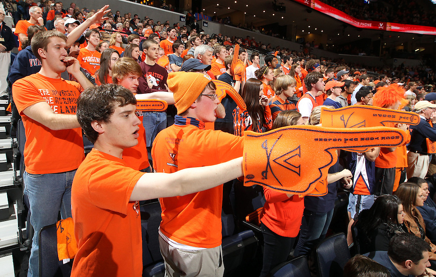 Virginia fans cheer during the game Tuesday in Charlottesville, VA. Virginia defeated Virginia Tech73-55.