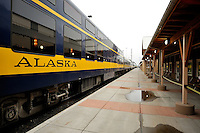 The Alaska Railroad's Denali Star train prepares to leave the Fairbanks Depot, headed south to Anchorage.