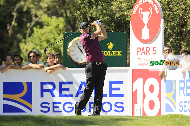 James Morrison (ENG) on the 18th tee during Round 4 of the Open de Espana  in Club de Golf el Prat, Barcelona on Sunday 17th May 2015.<br /> Picture:  Thos Caffrey / www.golffile.ie