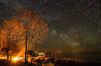 A beautiful view of the Milky Way over the Lake Michigan shoreline and a nice campfire to complete an enjoyable evening. Nahma, MI