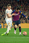 UEFA Champions League 2018/2019.<br /> Quarter-finals 2nd leg.<br /> FC Barcelona vs Manchester United: 3-0.<br /> Scott McTominay vs Lionel Messi.