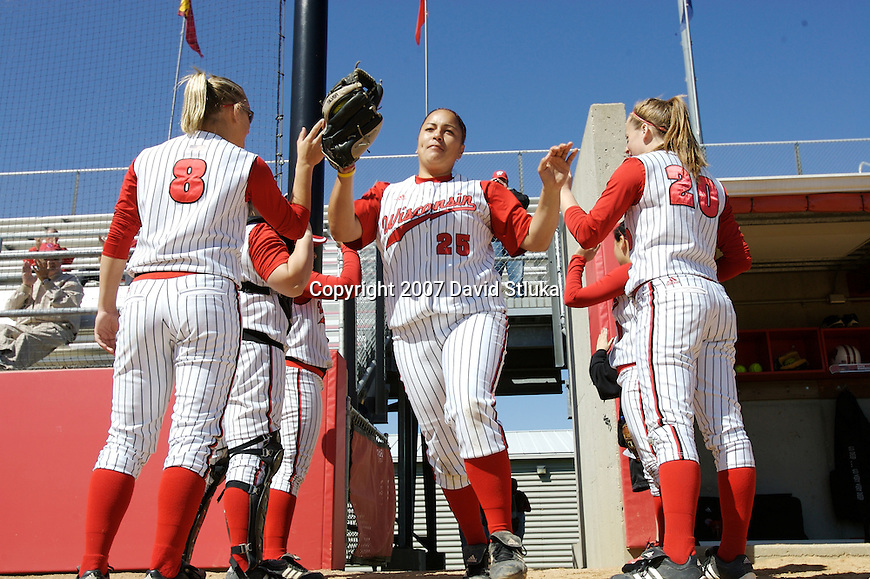 MADISON, WI - APRIL 16: Infielder Alexis Garcia #25 of the Wisconsin Badgers softball team takes the field against the Indiana Hoosiers at Goodman Diamond on April 16, 2007 in Madison, Wisconsin. (Photo by David Stluka)