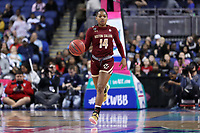 GREENSBORO, NC - MARCH 07: Marnelle Garraud #14 of Boston College brings the ball up the court during a game between Boston College and NC State at Greensboro Coliseum on March 07, 2020 in Greensboro, North Carolina.