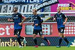 05.10.2019, Benteler Arena, Paderborn, GER, 1.FBL, SC Paderborn 07 vs 1. FSV Mainz 05<br /><br />DFL REGULATIONS PROHIBIT ANY USE OF PHOTOGRAPHS AS IMAGE SEQUENCES AND/OR QUASI-VIDEO.<br /><br />im Bild / picture shows<br />Klaus Gjasula (Paderborn #08) Kapitän / mit Kapitänsbinde, <br />Ben Zolinski (Paderborn #31), <br />Sebastian Vasiliadis (Paderborn #39), <br /><br />Foto © nordphoto / Ewert
