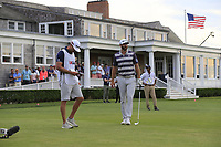 Dustin Johnson (USA) and brother Austin on the 14th tee during Saturday's Round 3 of the 118th U.S. Open Championship 2018, held at Shinnecock Hills Club, Southampton, New Jersey, USA. 16th June 2018.<br /> Picture: Eoin Clarke | Golffile<br /> <br /> <br /> All photos usage must carry mandatory copyright credit (&copy; Golffile | Eoin Clarke)