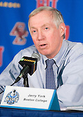 Jerry York (BC - Head Coach) - The Boston College Eagles defeated the Harvard University Crimson 6-0 on Monday, February 1, 2010, in the first round of the 2010 Beanpot at the TD Garden in Boston, Massachusetts.