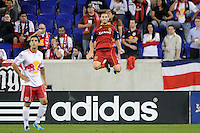 Fabian Espindola (7) of Real Salt Lake celebrates scoring during a Major League Soccer (MLS) match against the New York Red Bulls at Red Bull Arena in Harrison, NJ, on September 21, 2011.