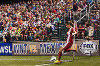 Western New York Flash forward Adriana Martin (8) takes a corner kick. The Portland Thorns defeated the Western New York Flash 2-0 during the National Women's Soccer League (NWSL) finals at Sahlen's Stadium in Rochester, NY, on August 31, 2013.