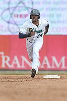 Cedar Rapids Kernels right fielder Jaylin Davis (24) runs to third base during a game against the Beloit Snappers at Veterans Memorial Stadium on April 9, 2017 in Cedar Rapids, Iowa.  The Kernels won 6-1.  (Dennis Hubbard/Four Seam Images)