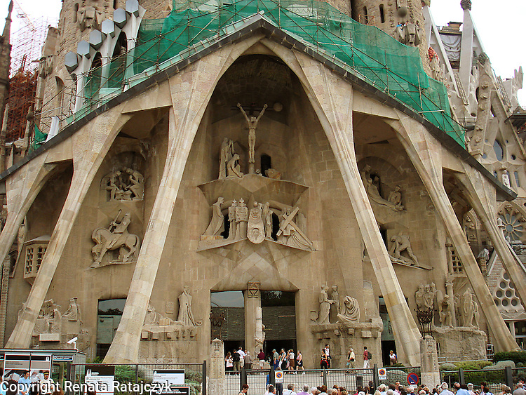 Passion Facade, Sagrada Familia Church, Barcelona, Spain by Josep Maria Subirachs