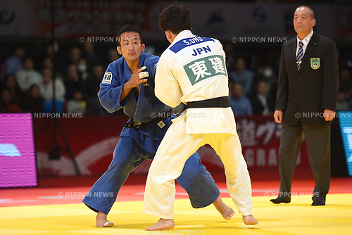 (L-R) Hiroyuki Akimoto (JPN), Shohei Ono, <br /> DECEMBER 6, 2014 - Judo : <br /> IJF Grand Slam Tokyo 2014 International Judo Tournament <br /> Men's -73kg Final <br /> at Tokyo Metropolitan Gymnasium, Tokyo, Japan. <br /> (Photo by AFLO SPORT) [1220]