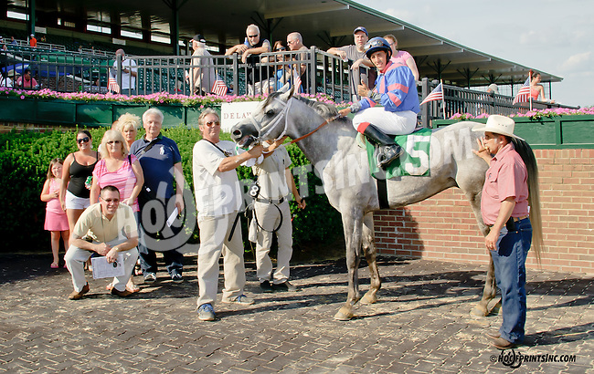 Burning Breeze winning at Delaware Park racetrack on 6/28/14