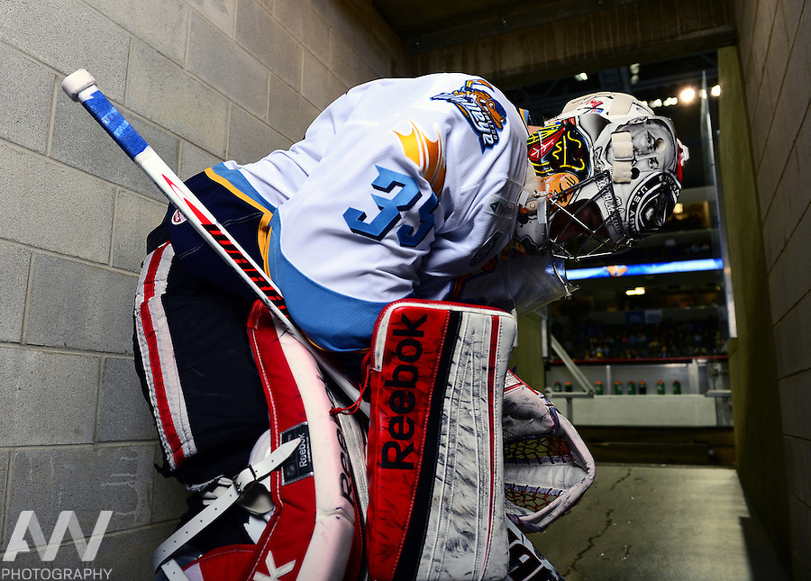 Oct 19, 2012; Toledo, OH, USA; Toledo Walleye guard Kent Simpson (35) against the Cincinnati Cyclones at Huntington Center: Mandatory Credit: Andrew Weber