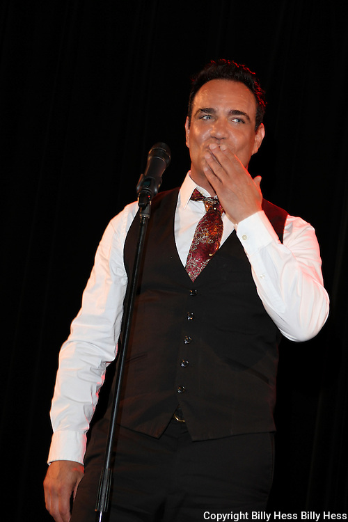 Larry Costa singing at the Vinny Vella Show