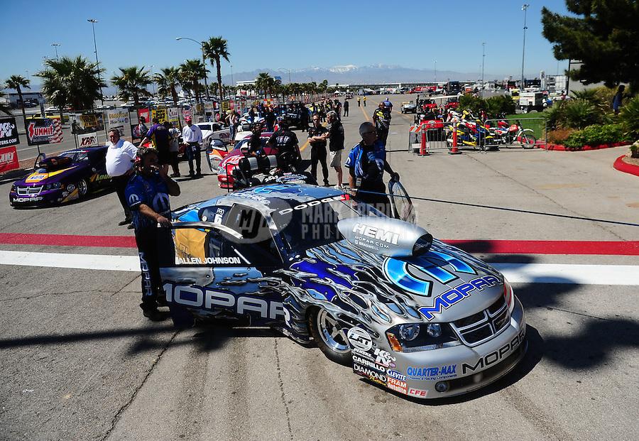 Apr. 1, 2011; Las Vegas, NV, USA: NHRA pro stock driver Allen Johnson during qualifying for the Summitracing.com Nationals at The Strip in Las Vegas. Mandatory Credit: Mark J. Rebilas-