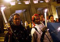 Veglia in memoria dei migranti morti nel naufragio di una nave al largo dell'isola di Lampedusa, in piazza del Campidoglio, Roma, 4 ottobre 2013.<br /> Partecipants attend a vigil in memory of migrants dead after a ship caught fire and sank off the Sicilian island of Lampedusa, southern Italy, at Rome's capitol hill, 4 October 2013.<br /> UPDATE IMAGES PRESS/Riccardo De Luca