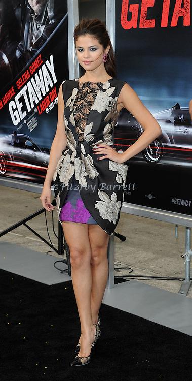 Selena Gomez at the Los Angels premiere of Getaway held at the Regency Village Theater August 26, 2013