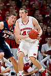 Wisconsin Badgers forward Jared Berggren (40) handles the ball during a Big Ten Conference NCAA college basketball game against the Illinois Fighting Illini on Sunday, March 4, 2012 in Madison, Wisconsin. The Badgers won 70-56. (Photo by David Stluka)