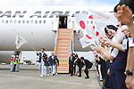 (L-R) Keisuke Ushiro, Saori Yoshida, Yasuhiro Yamashita (JPN), <br /> AUGUST 24, 2016 : The Olympic flag welcoming ceremony at Haneda Airport in Tokyo, Japan. The Olympic flag was passed to new Tokyo governor Yuriko Koike from IOC President at the Rio de Janeiro 2016 Olympic Games closing ceremony on August 21. Tokyo will host the 2020 Olympic Games. (Photo by AFLO SPORT)