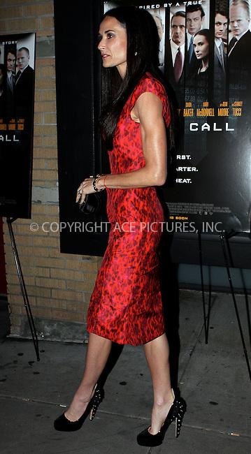 WWW.ACEPIXS.COM . . . . .  ....October 17 2011, New York City....Actress Demi Moore arriving at the 'Margin Call' premiere at the Landmark Sunshine Cinema on October 17, 2011 in New York City. ....Please byline: NANCY RIVERA- ACEPIXS.COM.... *** ***..Ace Pictures, Inc:  ..Tel: 646 769 0430..e-mail: info@acepixs.com..web: http://www.acepixs.com