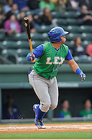 First baseman Samir Duenez (9) of the Lexington Legends bats in a game against the Greenville Drive on Thursday May 19, 2016, at Fluor Field at the West End in Greenville, South Carolina. Lexington won, 6-0. (Tom Priddy/Four Seam Images)