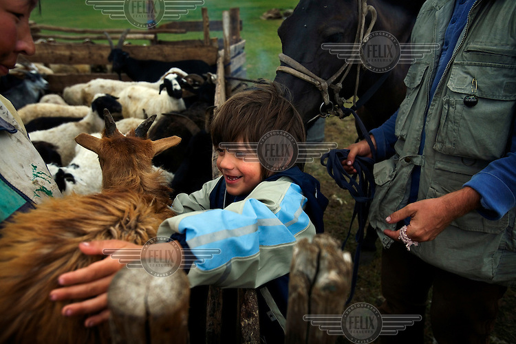 "Rowan, a five-year-old autistic child, playing with a goat during a horseback expedition across Mongolia. Rowan, who has been nicknamed ""The Horse Boy"", embarked on a therapeutic journey of discovery with his parents to visit a succession of shaman healers in one of the most remote regions in the world. Following Rowan's positive response to a neighbour's horse, Betsy, and some reaction to treatment by healers, Rowan's parents hoped that the Mongolian shamanistic rituals along the route and the prolonged contact with horses would help to unlock their son's autism and assist his development.."
