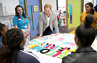11 April 2019 - Prince Harry, Duke of Sussex meets young people who have been involved in the development of the new Youth Zone during the official opening of the Barking & Dagenham Future Youth Zone in Dagenham, England.  The facility is created by the Charity OnSide Youth Zones and is the first of three facilities expected to open in 2019, which will provide a safe environment where young people can come and enjoy themselves, build key skills and raise their aspirations and confidence to create a happier and healthier generation. Photo Credit: ALPR/AdMedia