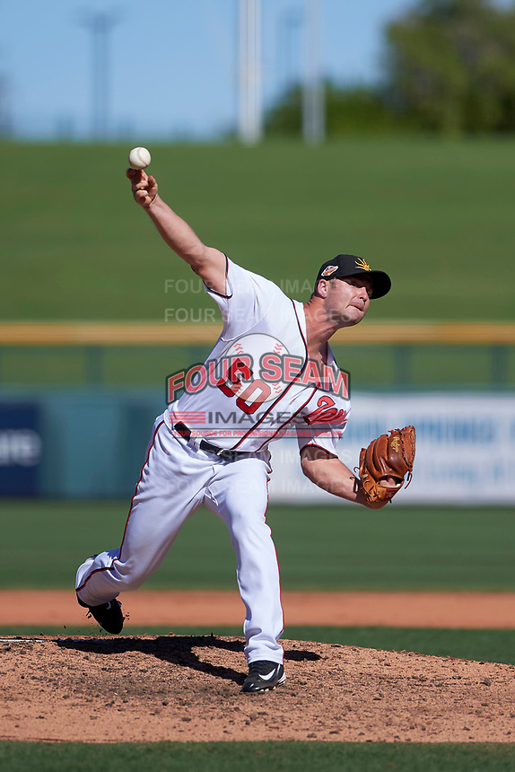 Mesa Solar Sox relief pitcher Dakota Bacus (50), of the Washington Nationals organization, delivers a pitch to the plate during an Arizona Fall League game against the Scottsdale Scorpions on October 24, 2017 at Sloan Park in Mesa, Arizona. The Scorpions defeated the Solar Sox 3-1. (Zachary Lucy/Four Seam Images)