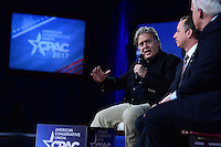 National Harbor, MD - February 23, 2017: Steve Bannon, president Trump's chief strategist,  participates in a discussion with White House Chief of Staff Reince Priebus during the Conservative Political Action Conference at the Gaylord Hotel in National Harbor, MD, February 23, 2017,   (Photo by Don Baxter/Media Images International)