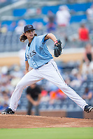 Durham Bulls starting pitcher Brent Honeywell (21) in action against the Buffalo Bisons at Durham Bulls Athletic Park on April 30, 2017 in Durham, North Carolina.  The Bisons defeated the Bulls 6-1.  (Brian Westerholt/Four Seam Images)