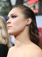 "WESTWOOD, CA - AUGUST 9: Ronda Rousey, at Premiere Of STX Films' ""Mile 22"" at The Regency Village Theatre in Westwood, California on August 9, 2018. Credit: Faye Sadou/MediaPunch"