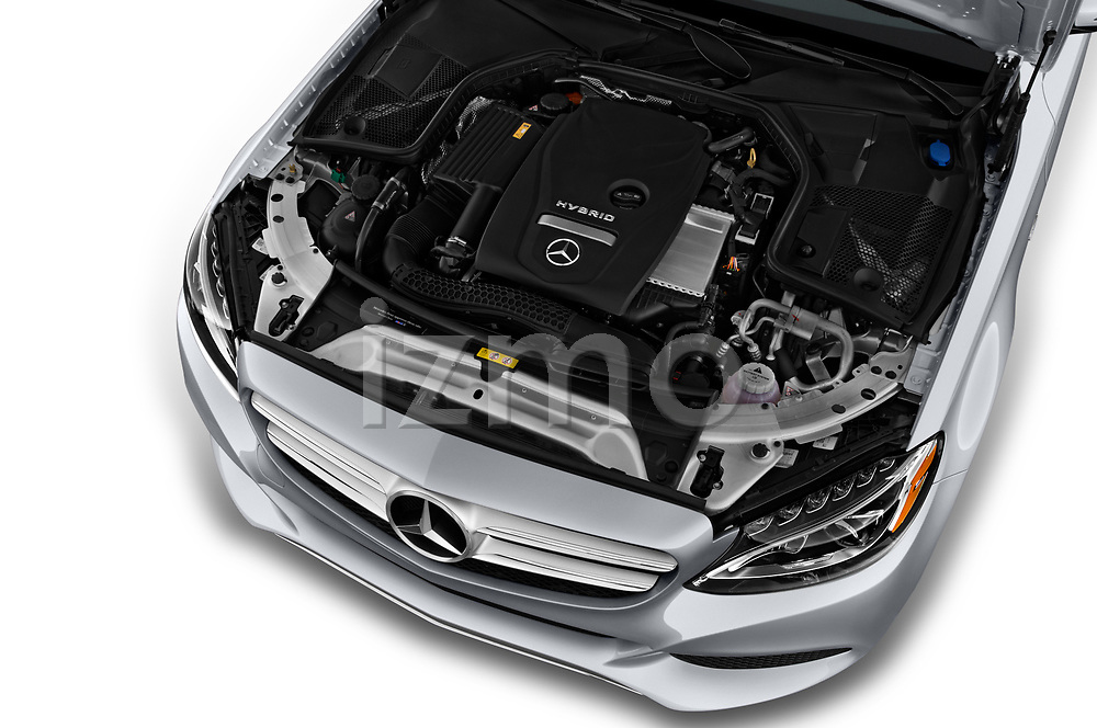 Car stock 2017 Mercedes Benz C Class C350e 4 Door Sedan engine high angle detail view