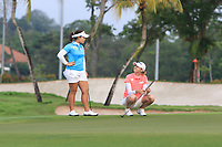 Moriya Jutanugarn (THA) and Nelly Korda (USA) in action on the 1st during Round 2 of the HSBC Womens Champions 2018 at Sentosa Golf Club on the Friday 2nd March 2018.<br /> Picture:  Thos Caffrey / www.golffile.ie<br /> <br /> All photo usage must carry mandatory copyright credit (&copy; Golffile | Thos Caffrey)