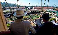 DEL MAR, CA - NOVEMBER 04: Fans read the program and watch the action in the paddock on Day 2 of the 2017 Breeders' Cup World Championships at Del Mar Racing Club on April 3, 2017 in Del Mar, California. (Photo by Scott Serio/Eclipse Sportswire/Breeders Cup)
