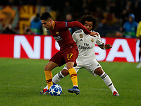 Cenzig Under of AS Roma and Marcelo of Real Madrid  during the Champions League Group  soccer match between AS Roma - Real Madrid  at the Stadio Olimpico in Rome Italy 27 November 2018