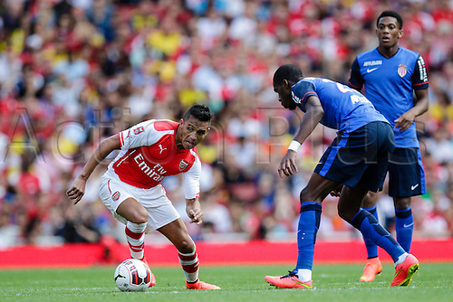 03.08.2014. London, England. Emirates Cup.  Arsenal versus AS Monaco.  Arsenal forward Alexis SANCHEZ in action.  With Monaco winning 0-1 and Valencia winning earlier in the day, Valencia won the tournament trophy.