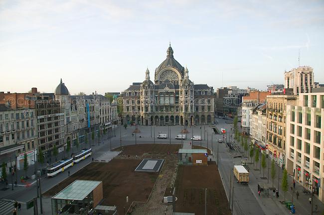 Antwerp Central Station and Koningin Astridplein, Antwerp, Belgium