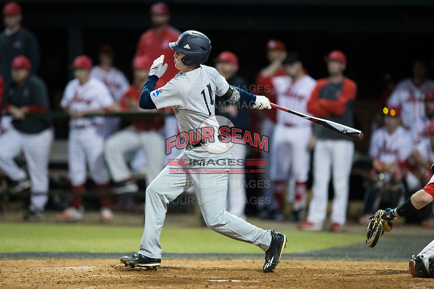 Jackson Raper (14) of the Catawba Indians follows through on his swing against the Belmont Abbey Crusaders at Abbey Yard on February 7, 2017 in Belmont, North Carolina.  The Crusaders defeated the Indians 12-9.  (Brian Westerholt/Four Seam Images)
