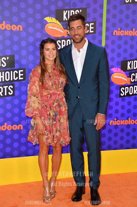 Danica Patrick & Aaron Rodgers at the Nickelodeon Kids' Choice Sports Awards 2018 at Barker Hangar, Santa Monica, USA 19 July 2018<br /> Picture: Paul Smith/Featureflash/SilverHub 0208 004 5359 sales@silverhubmedia.com