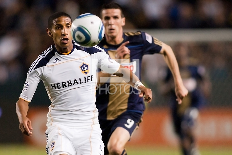 LA Galaxy midfielder Sean Franklin (5) chases down a ball. The LA Galaxy defeated the Philadelphia Union 1-0 at Home Depot Center stadium in Carson, California on  April  2, 2011....