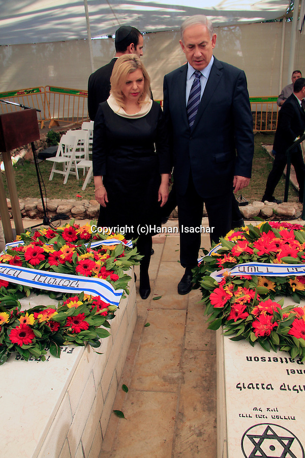Israel, Prime Minister Benjamin and Sara Netanyahu by the tomb of Lieutenant Colonel John Henry Patterson