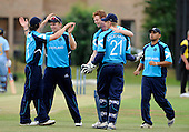Scotland V India A, 2nd Tour match, at Citylets Titwood - Scotland celebrate a wicket - Picture by Donald MacLeod 25.06.10 - mobile 07702 319 738 - clanmacleod@btinternet.com