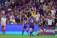 Orlando, FL - Saturday August 05, 2017: Maddy Evans celebrates a goal during a regular season National Women's Soccer League (NWSL) match between the Orlando Pride and the Chicago Red Stars at Orlando City Stadium.