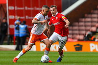 Blackpool's Jay Spearing battles with Barnsley's Mike Bahre<br /> <br /> Photographer Alex Dodd/CameraSport<br /> <br /> The EFL Sky Bet League One - Barnsley v Blackpool - Saturday 27th April 2019 - Oakwell - Barnsley<br /> <br /> World Copyright © 2019 CameraSport. All rights reserved. 43 Linden Ave. Countesthorpe. Leicester. England. LE8 5PG - Tel: +44 (0) 116 277 4147 - admin@camerasport.com - www.camerasport.com