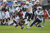 Aug 25, 2007; Glendale, AZ, USA; Arizona Cardinals wide receiver Larry Fitzgerald (11) runs after catching a pass in the third quarter against the San Diego Chargers at University of Phoenix Stadium. San Diego defeated Arizona 33-31. Mandatory Credit: Mark J. Rebilas-US PRESSWIRE Copyright © 2007 Mark J. Rebilas